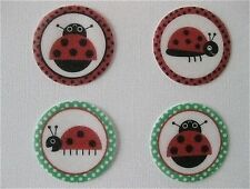 PRE CUT 12 EDIBLE RICE PAPER WAFER CARD LADYBUG LADYBIRD CAKE CUPCAKE TOPPERS