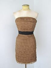 NWT $50 H&M Mocha Brown Tiered Ribbon Lace Strapless Club Cocktail Dress US 4