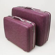 2 Vtg Hard Shell American Tourister Suitcases Bag Purple/Pink Interior Travel