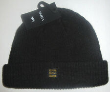 MENS RVCA BLACK BEANIE HAT CAP ONE SIZE