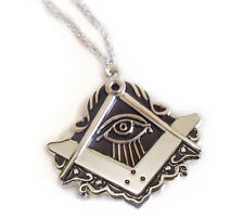 Masonic All-Seeing Eye Cut Out Shaped Pendant Compass & Square Design w/ chain