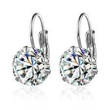 Hot Clear Swarovski Crystal Earrings Studs Woman's Gift 18k White Gold GP E135