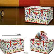 XL LARGE OWL PRINT STORAGE TOY PLAY BOX TRUNK FOLDABLE COVER LID SEAT GIRLS BOYS