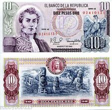 COLOMBIA 10 Pesos Banknote World Money Currency BILL South America p407h Note