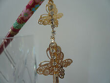 "Gold-tone Metal Alloy Rhinestone ""Cho Cho"" Butterfly Kumi Red Wood Hair Stick"