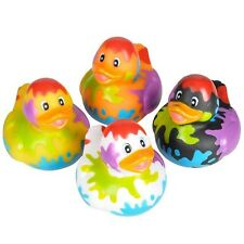 4 Count Paint Splatter Style Rubber Ducks 2 Inches Tall Toy Prank Gag