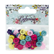 Pk 60 Dovecraft Bohemian Plastic Buttons for cards and crafts