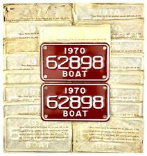 NOS UNISSUED PAIR OF 1970 Michigan Boat License Plates IN PAPER ENVELOPE