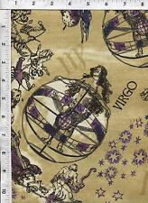 """Fabri Quilt Horoscope New Dawn Virgo sign 100% cotton 43"""" Fabric by the yard"""