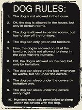 Dog Rules Life Lessons Pet Owner Humor Metal Sign