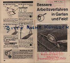 BETZDORF-SIEG, Prospekt 1933, Wolf-Geräte-Fabrik Wolf-Grubber Kultivator Rechen