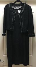 St John Couture Collection Black Silver Tweed Knit Dress and Jacket Suit Size 10