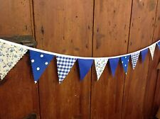Fabric Mini bunting banner Blue Floral Gingham Dots, weddings, parties, per mt
