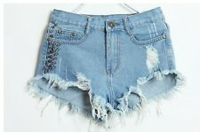 Women's Ripped  Studded Denim Shorts Size:8,10
