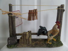 Red Shed Decorative Country Rooster Clothes Line Pin Photo Hangers Figurine