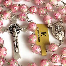 Handmade 10mm PINK Veluriyam ROSE BEADS ROSARY ITALY CROSS Catholic necklace