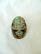 """Egyptian Scarab Lime Stone Symbol Of Luck  2.6"""" X 1.75"""" Handmade Turquoise #6.5"""