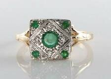 CLASS 9CT GOLD COLOMBIAN EMERALD DIAMOND ART DECO INS RING  FREE RESIZE