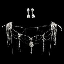 Wedding Bridal Rhinestone Shoulder Body Chain & Ear Clip Necklace Jewelry