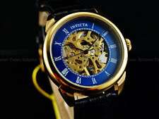 INVICTA Men Specialty Skeleton Mechanical Blue Dial 18KGIP Leather Strap Watch