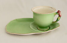 ROYAL WINTON Grimwades ROSEBUD Green TEA & TOAST TENNIS SNACK SET 1934+ Mark