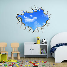 3D Blue Sky Clouds Window View Removable Wall Sticker Art PVC Decal Mural Hot