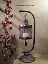 Metal Lantern Candle Holder Stand Rustic Distressed Finsh Industrial Antique