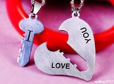 NEW 1 Pair I Love You Lock Key Heart Stainless Steel Pendant for Couple Necklace