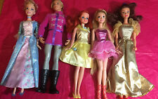 DISNEY PRINCESS BARBIE DOLLS MIXED LOT OF 5 PREVIOUSLY PLAYED WITH F4