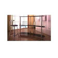 Black Glass Bar Modern Chrome Stand Contemporary High Table Party Room Furniture