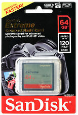 SANDISK Extreme 64GB CF Compact Flash Memory Card 64G 120MB/s UDMA 7 800x
