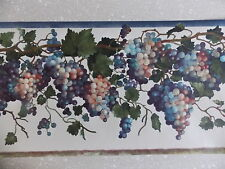 BLUE PURPLE GRAPE VINE FRUIT GREEN LEAF READY PASTED FINE DECOR WALLPAPER BORDER