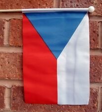 "CZECH REPUBLIC HAND WAVING FLAG medium 9"" X 6"" wooden pole flags Prague"
