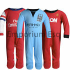 OFFICIAL BOYS GIRLS CHILDRENS FOOTBALL CLUB SLEEPSUIT BABYGROW ALL IN ONE 1ZEE