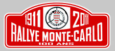 PLAQUE RALLYE MONTE-CARLO 100 ANS AUTOCOLLANT STICKER 150mmX65mm (RA029)