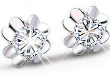 Sterling silver cubic zirconia crystal four leaf clove Stud earrings box H15
