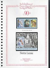 Sierra Leone 1990 Queen Mothers, 90th Birthday MNH Set + M/S On Page #V221