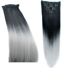 Two Tone Synthetic Ombre Hair 60cm 140g 7pcs/set Dyed Clip In Hair Extensions