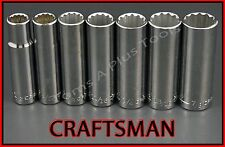 "CRAFTSMAN HAND TOOLS 7pc LOT 1/2"" Dr DEEP SAE 12pt ratchet wrench socket set"