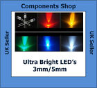 50 X Ultra Bright LEDs 3mm/5mm Red,Blue,White,Green,Yellow