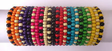 Job Lot X 24 Ladies Womens Wooden Tribal / Surfer Elastic Bead Bracelets - NEW