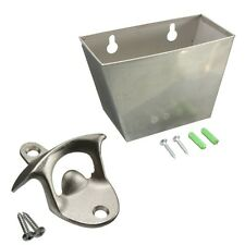 Wall Mount Stainless Steel Bar Beer Bottle Opener Cap Catcher Box w/ Screw