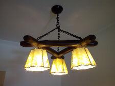 lampara de techo con cadenas de autentico hierro forjado , piel de cordero -lujo