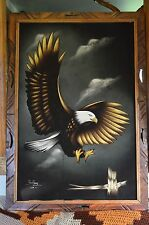 "41X28"" MCM NATIVE HUGE BALD EAGLE VELVET PAINTING-MEXICO-SIGNED YU KANY"