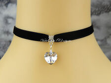 Black Velvet Choker/Necklace 9mm Clear Foil Crystal Heart Gothic/Bridal/Party UK
