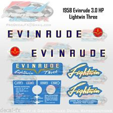 1958 Evinrude 3HP Lightwin Outboard Reproduction 10 Pc. Vinyl Decals Yachtwin