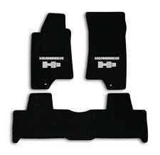 2007-2010 Hummer H3 - Black Velourtex Carpet 3pc Mat Set - Silver Hummer H3 Logo