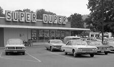 Photo. 1966-7. White River Junction, Vermont. SUPER DUPER MARKET - autos