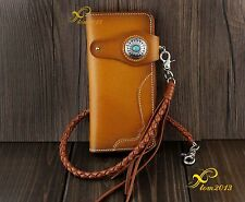 Men Turquoise Concho Leather Long Handmade Biker Wallet W/ Braid  Leather Chain
