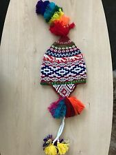 PERUVIAN CHULLO HAT WITH BEADS MULTICOLOURED RAVE FESTIVAL  HAND MADE ^4
